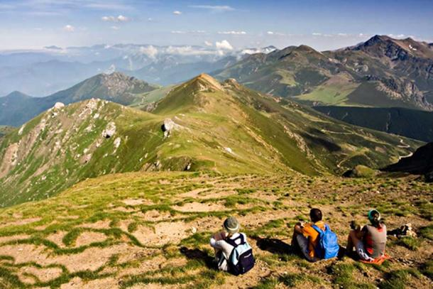 View of the Cantabrian Mountains from to Coriscao (2,234 m, 7330 ft), in Cantabria (Spain).