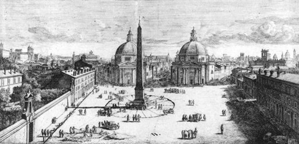 View of the Piazza del Popolo, Rome by Gaspar van Wittel (c. 1678) showing the Flaminian Obelisk and the surrounding square. Author provided