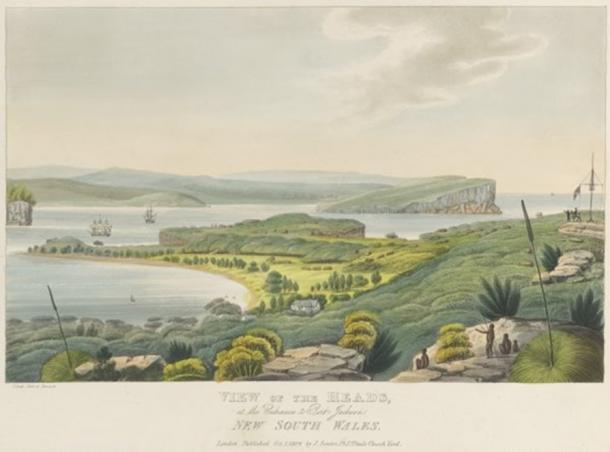 View of the heads at the entrance to Port Jackson New South Wales 1824 by Joseph Lycett. (CC BY 2.0)