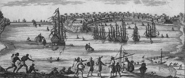 """View of the port of Galle in Ceylon in 1754. Image from the """"Travelogues of René Augustin Constantin Renneville."""" Published in Amsterdam. (Public Domain)"""