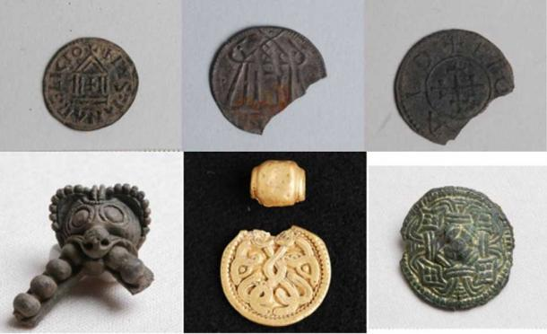 Coins (Pernille Rohde Sloth) and Viking jewelry (Kamilla Fiedler Terkildsen) discovered at the site of the Viking Age tower in Jutland, Denmark.