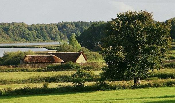 Reconstructed Viking Age longhouses at Haithabu.