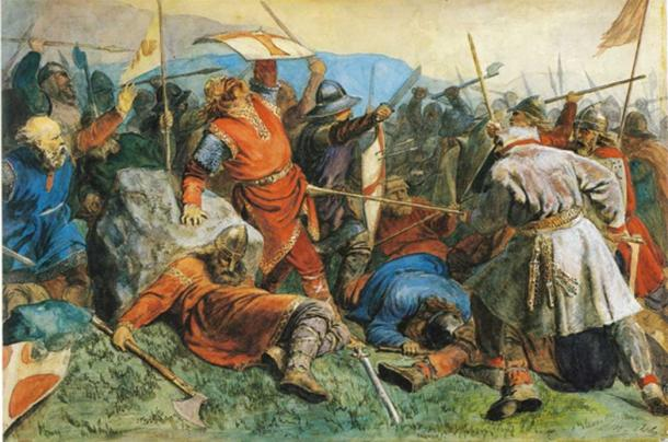 Viking Battle scene showing typical cloth and leather clothing.