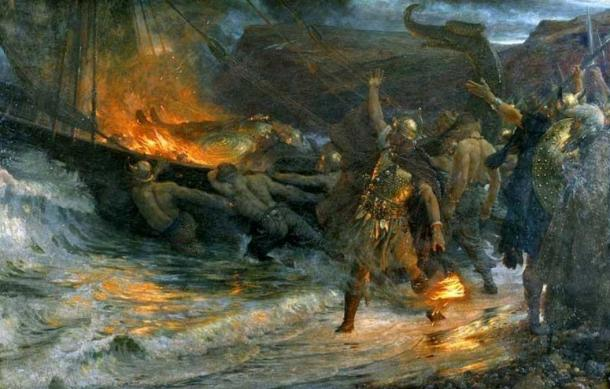 """Traditional Viking Chieftain funerals were energetically observed, with drinking, feasting, and sacrificial slaughter.  Later, people would be buried in cemeteries near churches. """"The Funeral of a Viking,"""" painting by Frank Dicksee, 1893"""