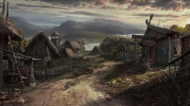 Artist's interpretation of a 'Viking Village.'