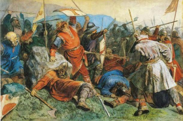 A Viking army in battle.