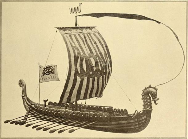 How a Viking boat may have looked in a 1912 reproduction in the Homes and Gardens magazine