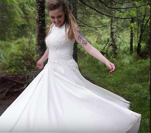 Viking bride Elisabeth in her white dress. (You Tube Screenshot)