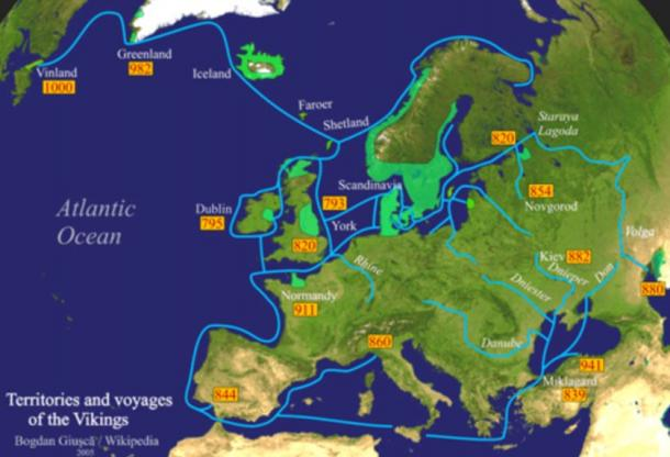 Viking expeditions (blue line): depicting the immense breadth of their voyages through most of Europe, the Mediterranean Sea, Northern Africa, Asia Minor, the Arctic and North America.