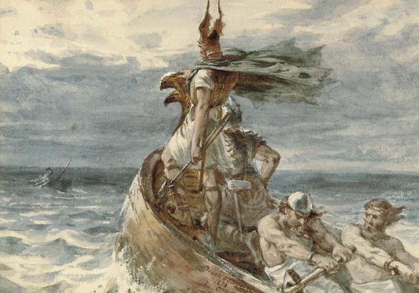 The Viking invaders almost entirely wiped out the Picts. 'Vikings Heading for Land' by Frank Dicksee