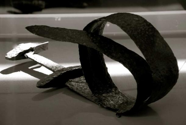 A Viking sword that had been ceremoniously bent