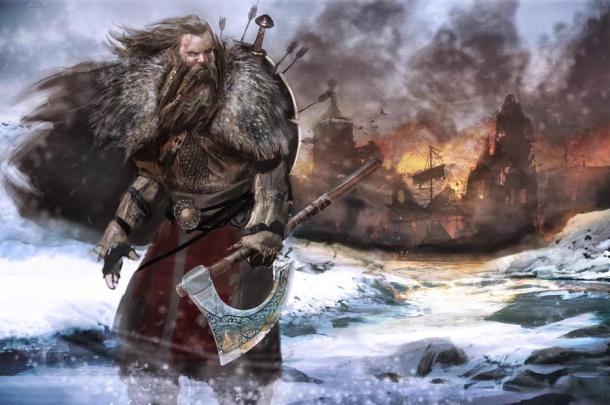 Viking warrior with an axe