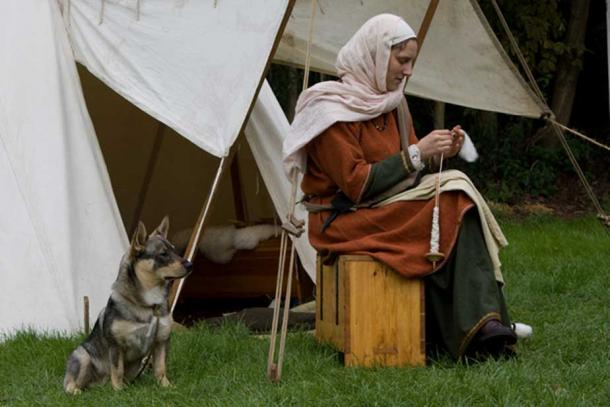 'Viking woman and dog.