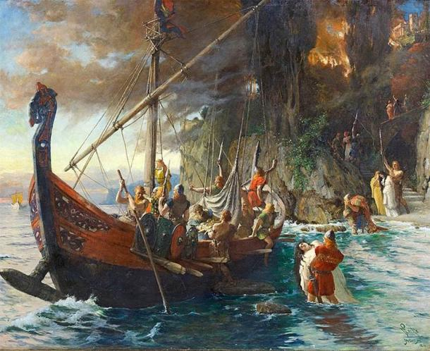 Vikings were feared for their vicious raids and attacks. This 1901 painting by Ferdinand Leeke shows them with their signature helmets which were used as essential personal protective equipment by Viking warriors. (Public domain)