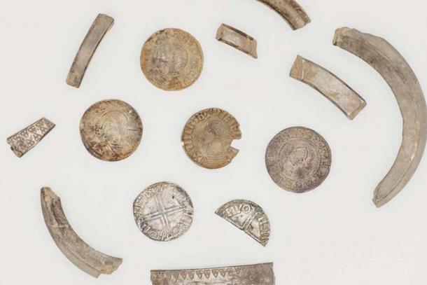 Silver Viking artifacts discovered on the Isle of Man in July 2021 (Manx National Heritage)