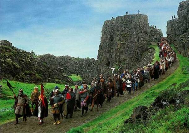 Vikings marching to Althing, the world's oldest parliament established in Thingvellir in AD 930.