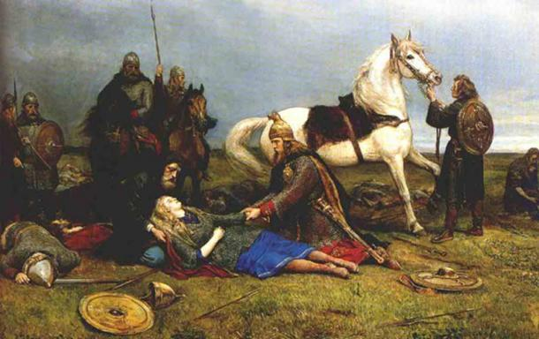 Vikings with their horses. A painting by Peter Nicolai Arbo