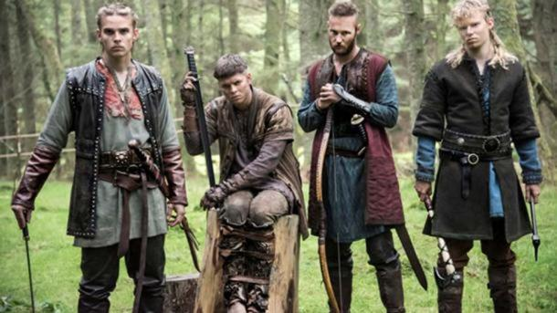 History Channel 'Vikings' Hvitserk (Halfdan) on the far left, with his brothers.