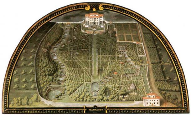 Villa di Pratolino, the lower half of the garden, by Giusto Utens, 1599 (Museo Topografico, Florence)