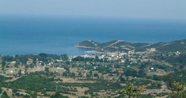 Village of Olymbiada, Chalkidiki, Greece. View from the northwest including site of ancient Stagira.