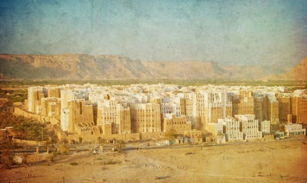 Vintage image of Shibam, Yemen. (javarman / Adobe)