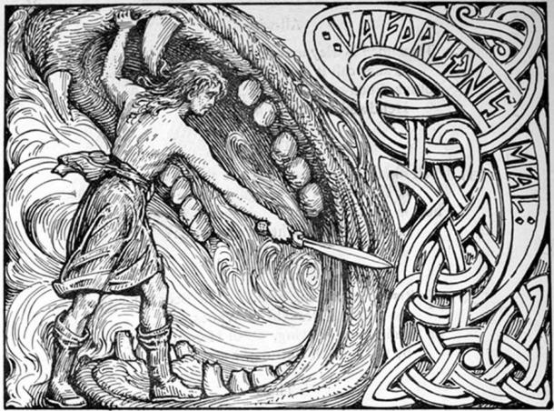 The god Víðarr stands in the jaws of Fenrir and swings his sword.
