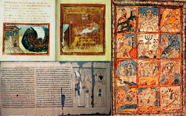 Top left) A page form the Vatican's 'Virgil' (Public Domain).  (Right) Folio 125r containing 12 scenes from the Passion of Christ. (Public Domain). (Bottom left) Part of the Book of the Dead of Pinedjem II. (Public Domain)
