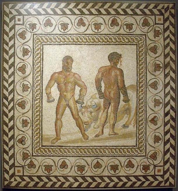 Virgil's 'Aeneid', Book 5, when the aging Sicilian champion Entellus defeats the young Trojan Dares, blood spurting from his injured head. Both wear caestūs. Mosaic floor from a Gallo-Roman villa in Villelaure, France, ca. 175 AD. (Marshall Astor/CC BY SA 2.0)