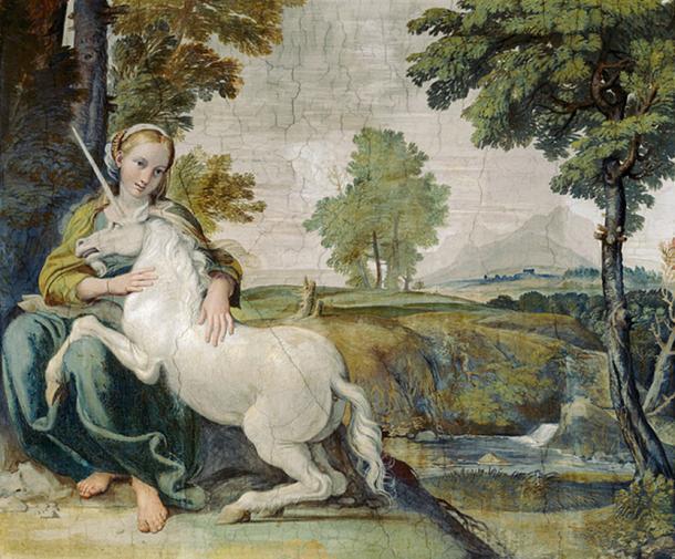 A Virgin with a Unicorn. (1602) Fresco by Domenichino.