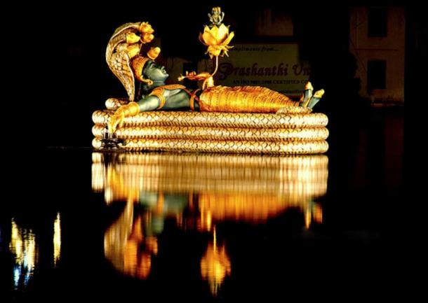 Vishnu idol, Sree Padmanabhaswamy Temple, Kerala, India