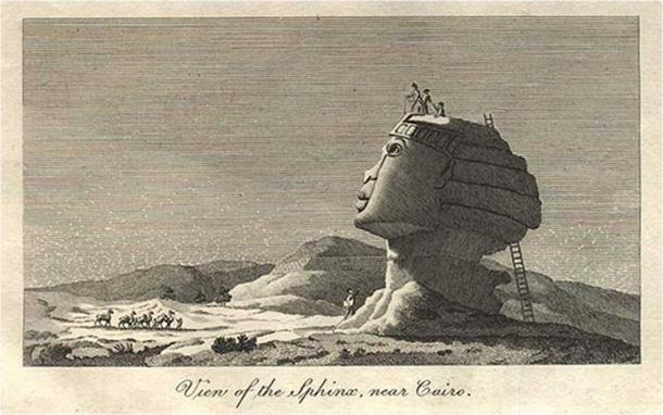 Скицата на сфинкса на Виван Денон през 1798 г. изобразява човек, изваден от дупка в главата на сфинкса (публично достояние)