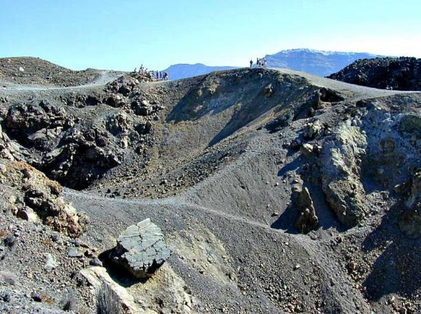 Volcanic craters on the Greek island of Santorini