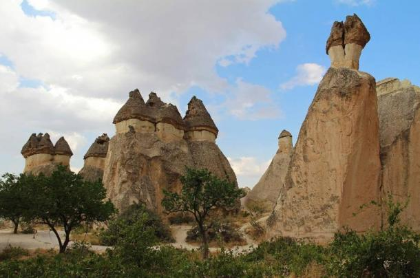 Volcanic tuff stone rocks in Pasabag in Cappadocia, Turkey