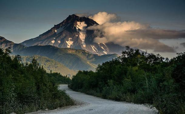 Volcano Vilyuchinsky as seen from Paratunka, Kamchatka, Russia.
