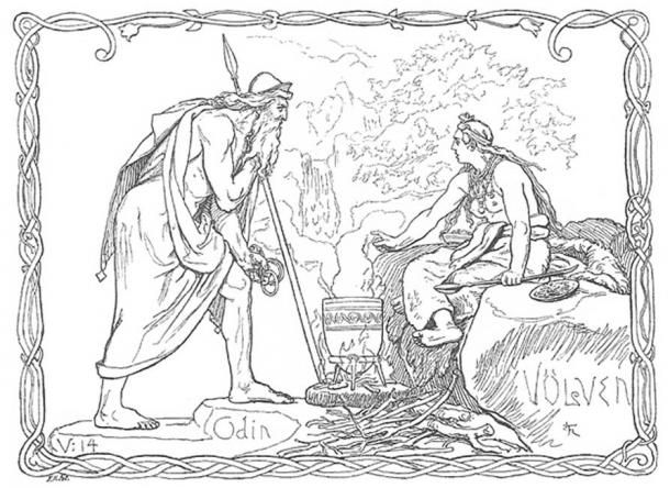 "Völuspá is the first and best known poem of the Poetic Edda. ""Odin and the Völva"" (1895) by Lorenz Frølich."
