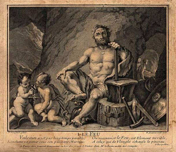 Vulcan (Hephaestus). Engraving by E. Jeaurat, 1716. (CC BY 4.0)