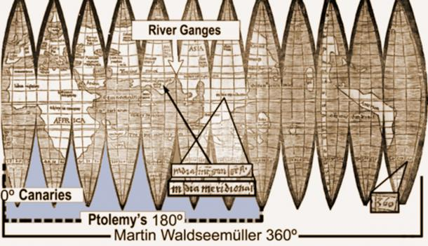 The landmark Waldseemüller map of 1507 represents Earth as a sphere for the first time. It fits Ptolemy's known half of the world like a glove sliding onto a hand – with the mouth of the Ganges (black arrow) still exactly nine time zones east of the Canaries and far west of Ptolemy's eastern limit (white arrow). (Map from James Ford Bell Library,