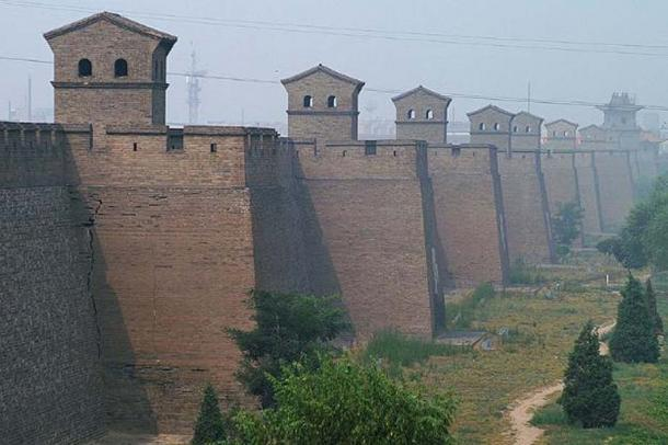 The Wall and some watchtowers of Pingyao city, Shanxi, China.