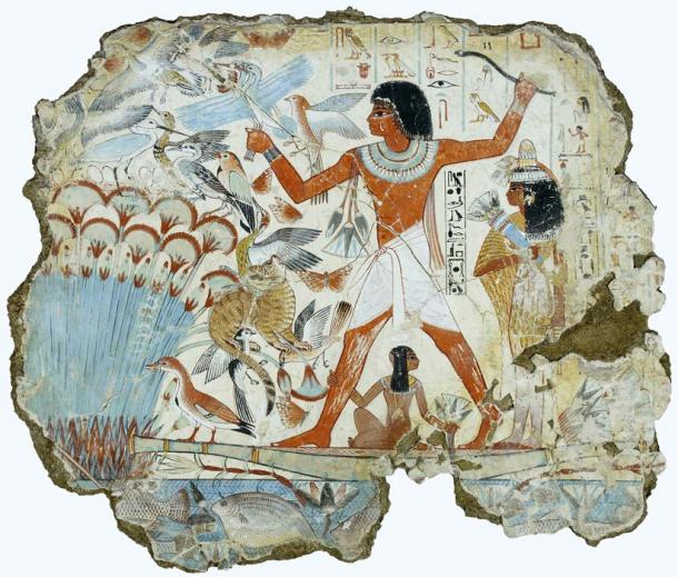 "Wall painting from the tomb of Nebamun - a middle-ranking official, ""scribe and grain accountant"" during the New Kingdom - at Thebes shows him with his family fowling in the marshes. Note the artistic convention of other participants in a scene being smaller than the prime focus figure. His name was translated as ""My Lord is Amun"". British Museum. (Public Domain)"