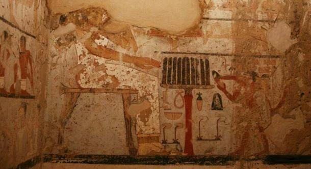 Wall painting thought to depict Hetpet in the tomb (Image: Egyptian Ministry of Antiquities)