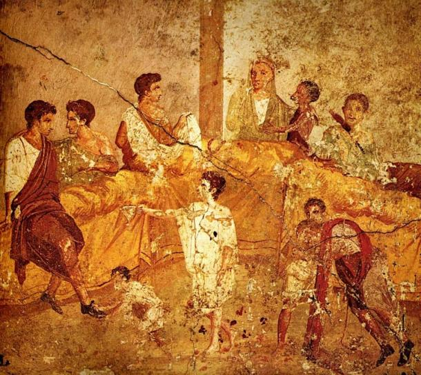 Wall painting (1st century AD) depicting a multigenerational and multicultural banquet