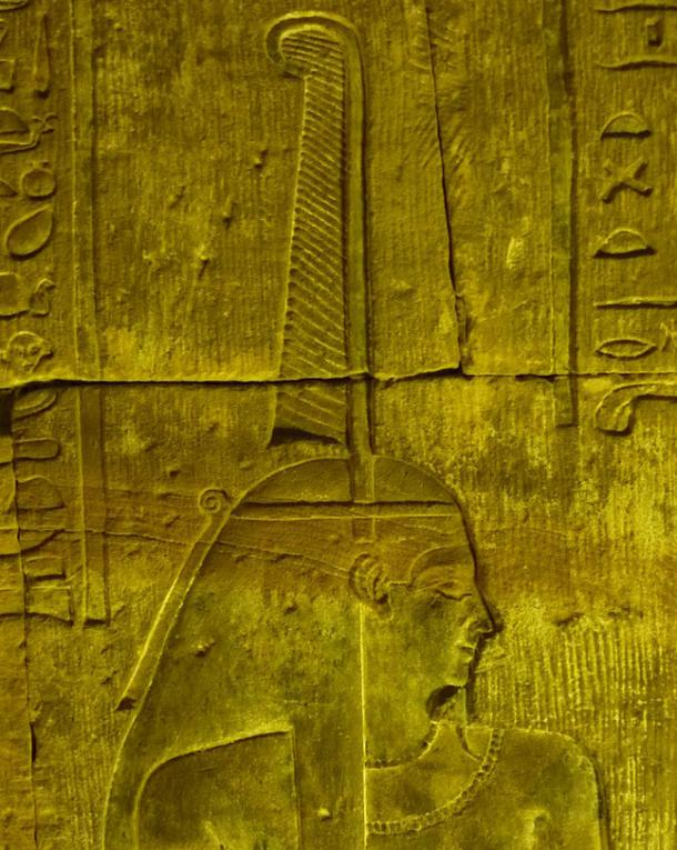 Wall relief of Maat in the eastern upstairs part of the temple of Edfu, Egypt. The ostrich feather can be seen on top of her head.