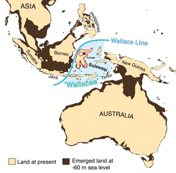 Wallacea, the zone of oceanic islands positioned east of the Wallace Line, one of the world's major biogeographical boundaries, and lying between the continental regions of Asia and Australia-New Guinea. Adam Brumm, Author provided
