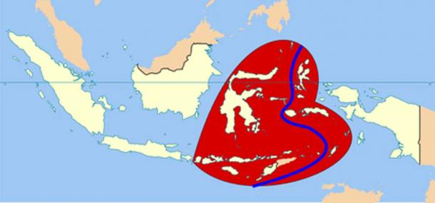 Wallacea, the group of islands, within the red area, is a biogeographical designation for a group of mainly Indonesian islands separated by deep-water straits from the Asian and Australian continental shelves. The Weber Line is in blue. (JWB / CC BY-SA 4.0)