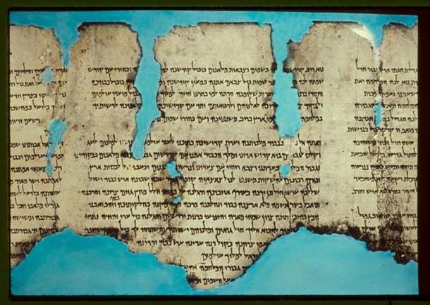 A photograph of the War Scroll.