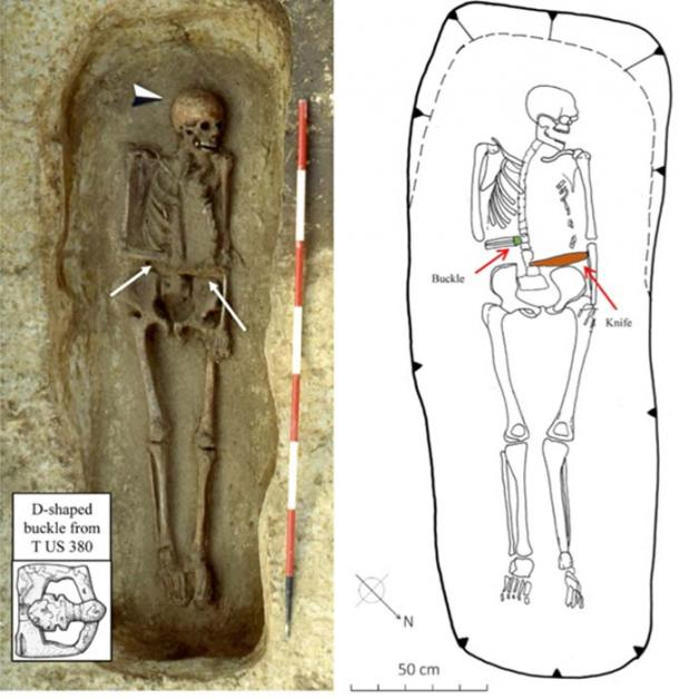 Warrior T US 380: The orientation of the right arm, the position of the buckle, and the location of the knife, suggest he wore a knife-hand prosthesis. Credit: Micarelli et al. 2018