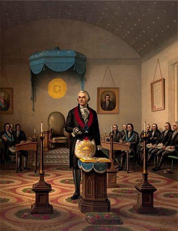 "Print of ""Washington As Master Mason."" (Public Domain)"
