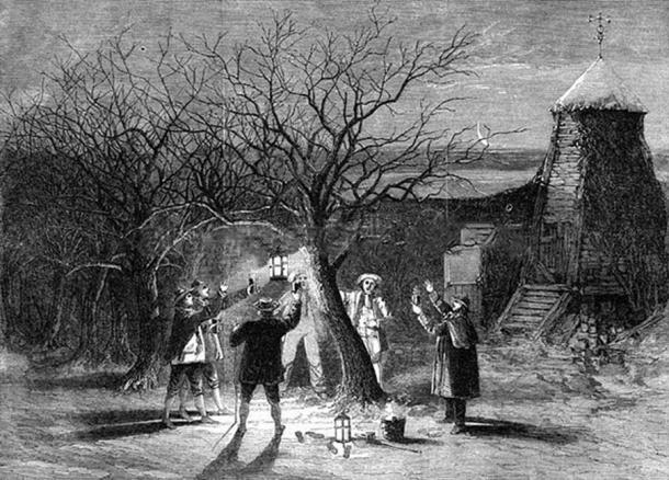 Wassailing at the orchard (Public Domain)