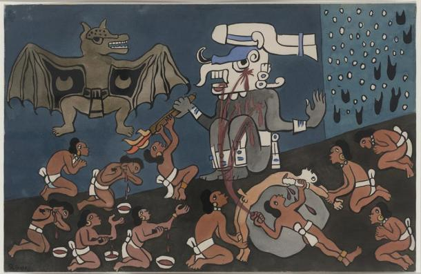 Watercolor painted by Diego Rivera in San Francisco, Calif. during the summer of 1931, originally commissioned to illustrate a never-published English translation of the Popol Vuh by John Weatherwax. Depicts the first humans making sacrifices to the god Tohil. underworld. (public domain)