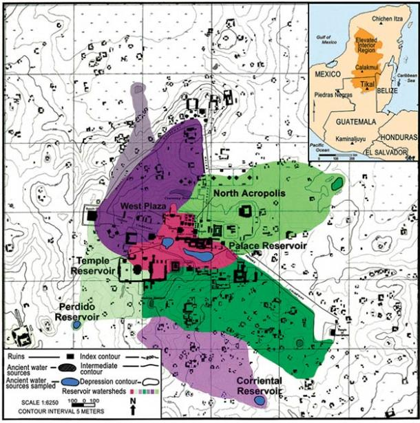 Watershed map of the site core of Tikal. The red area in the middle of the map represents the portion of the site core that drains into the Temple and Palace Reservoirs. (Lentz et al. 2020)
